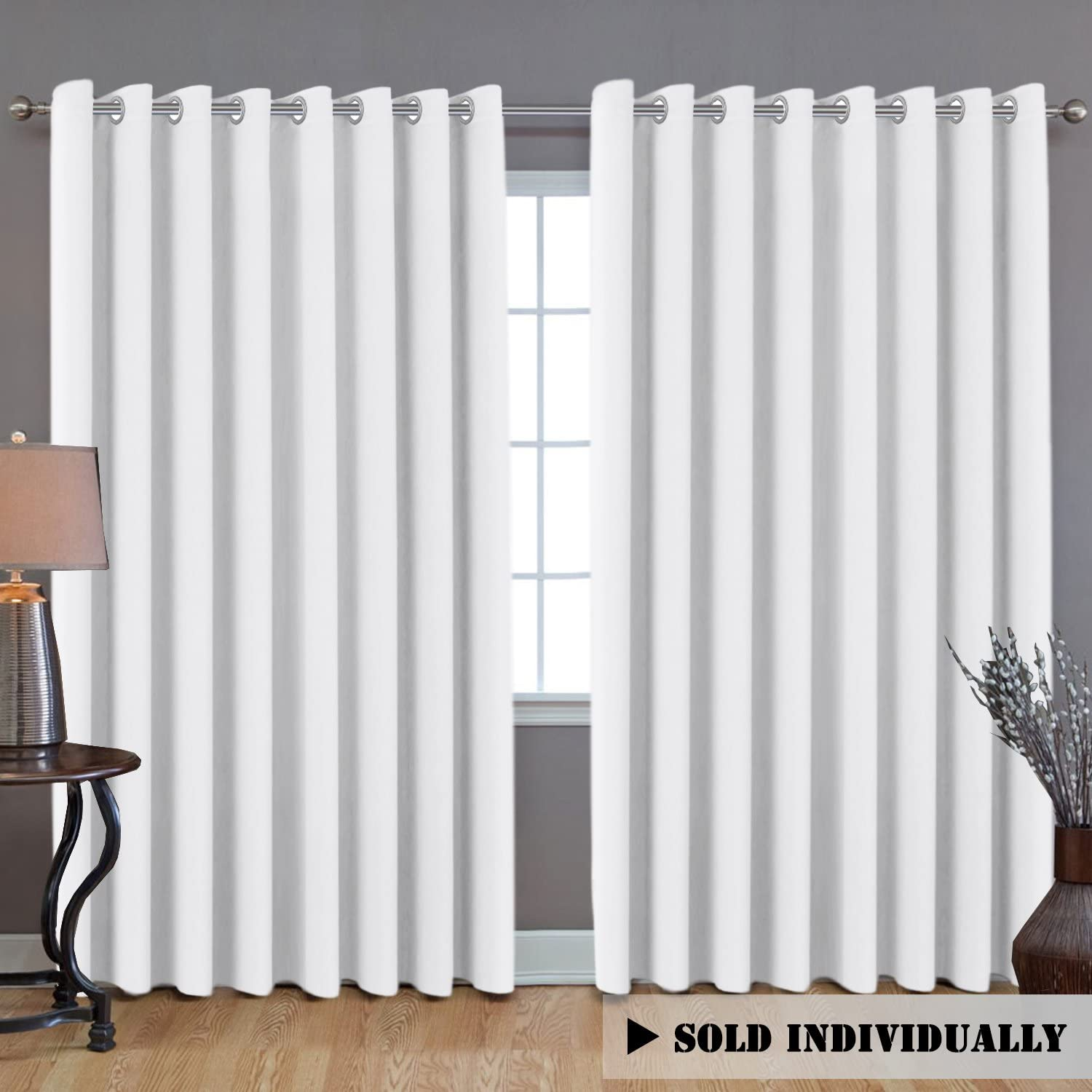 """H.VERSAILTEX White Curtain Thermal Insulated Extra Long Panel/Drapes (100"""" W x 108"""" L), Premium Total Privacy Room Divider Curtain (9ft Tall by 8.5ft Wide)"""