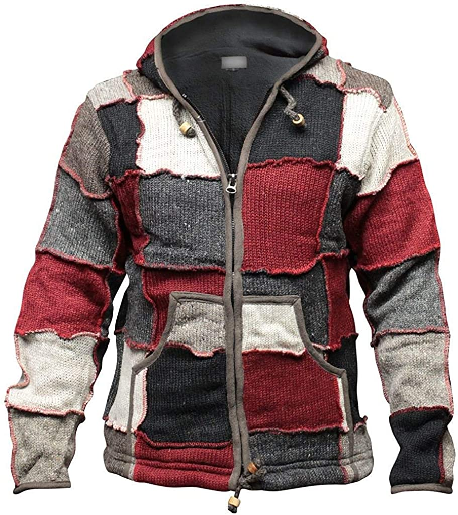 Shopoholic Fashion Mens Winter Patch Wool Hippie Jacket