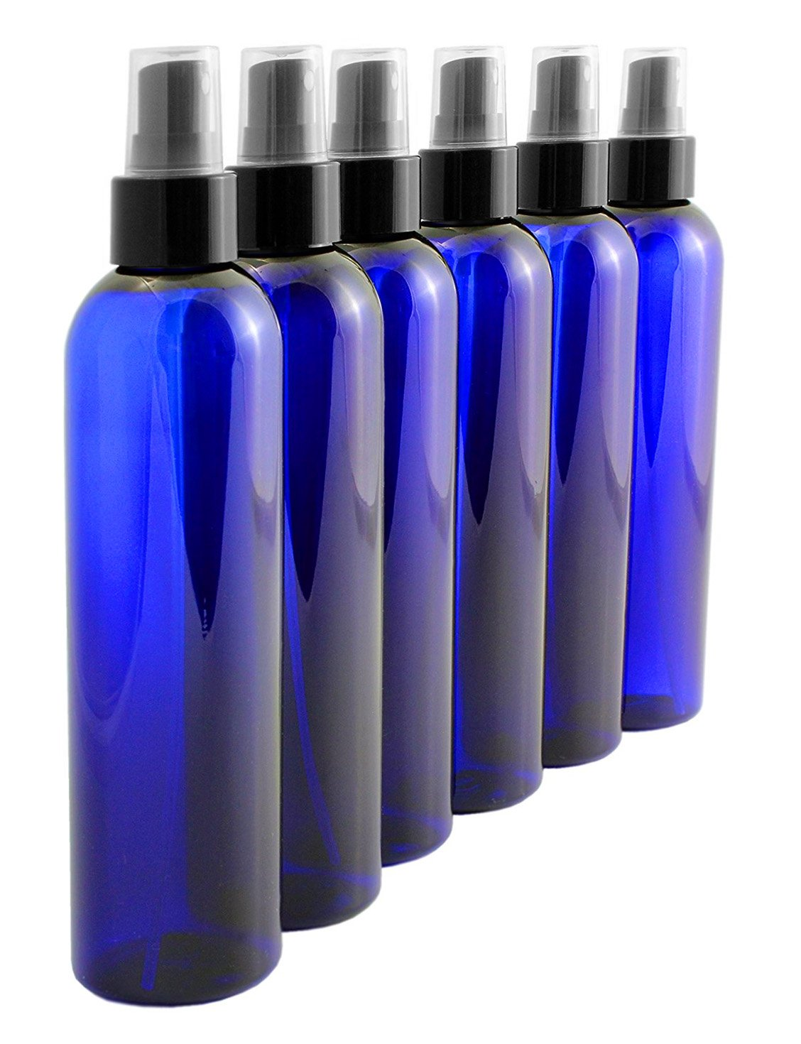 8oz Cobalt Blue Plastic PET Spray Bottles w/Fine Mist Atomizers (6-Pack); for DIY Home Cleaning, Aromatherapy, Beauty Care
