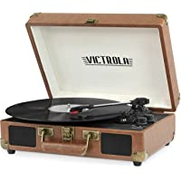 Victrola Vintage 3-Speed Bluetooth Portable Suitcase Record Player with Built-in Speakers | Upgraded Turntable Audio Sound| Includes Extra Stylus | Brown