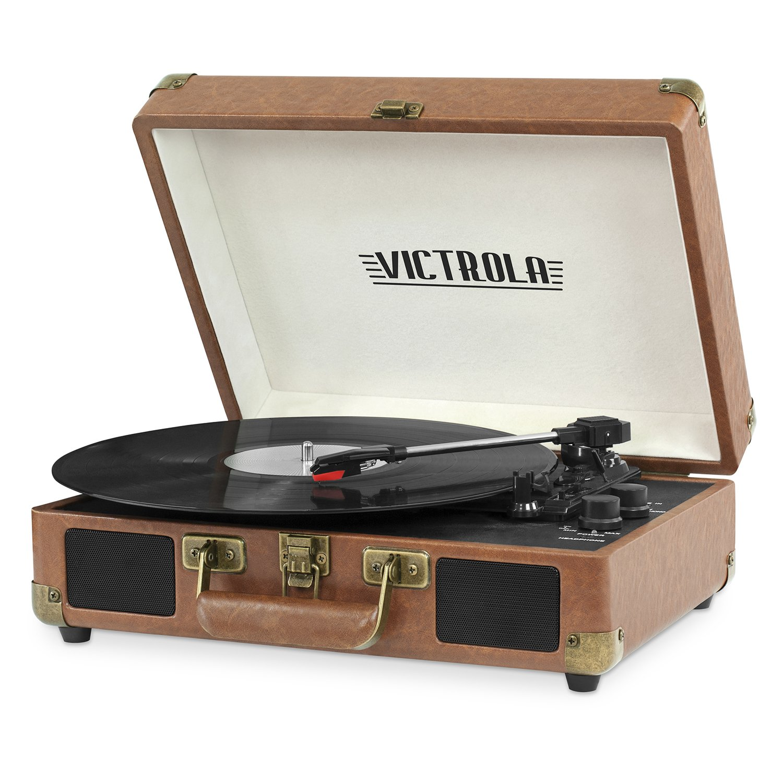 Victrola Vintage 3-Speed Bluetooth Suitcase Turntable Speakers, Brown Innovative Technology VSC-550BT-BRW