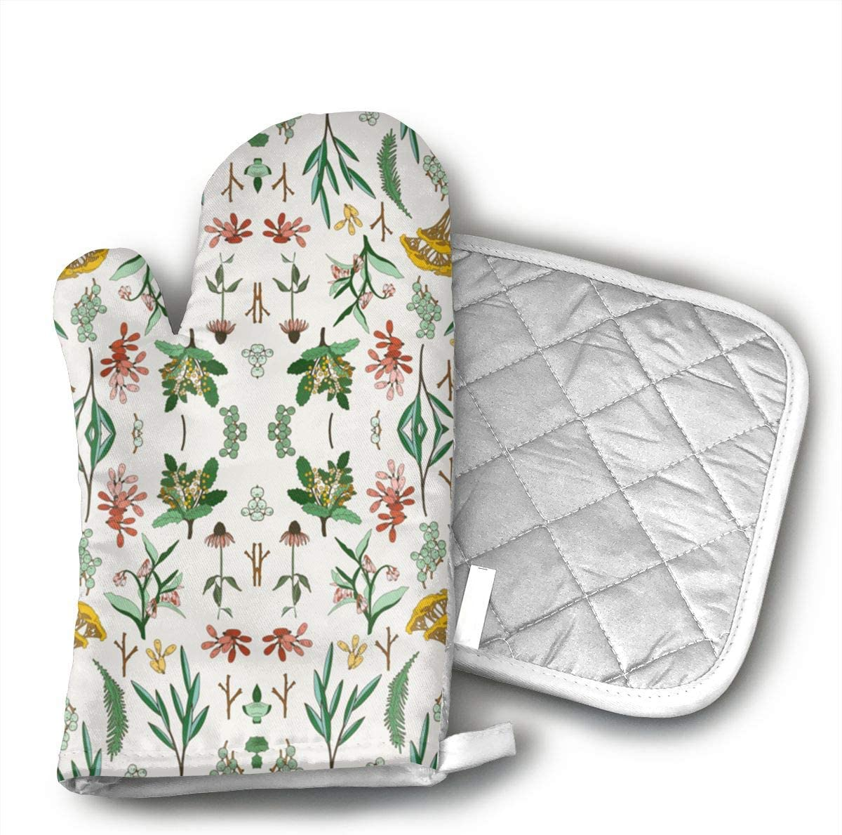 GUYDHL Herbal Study Light Fabric Print for 2 Pair Oven Mitt and Pot Holder for Cooking,Barbecue,Baking,Grilling