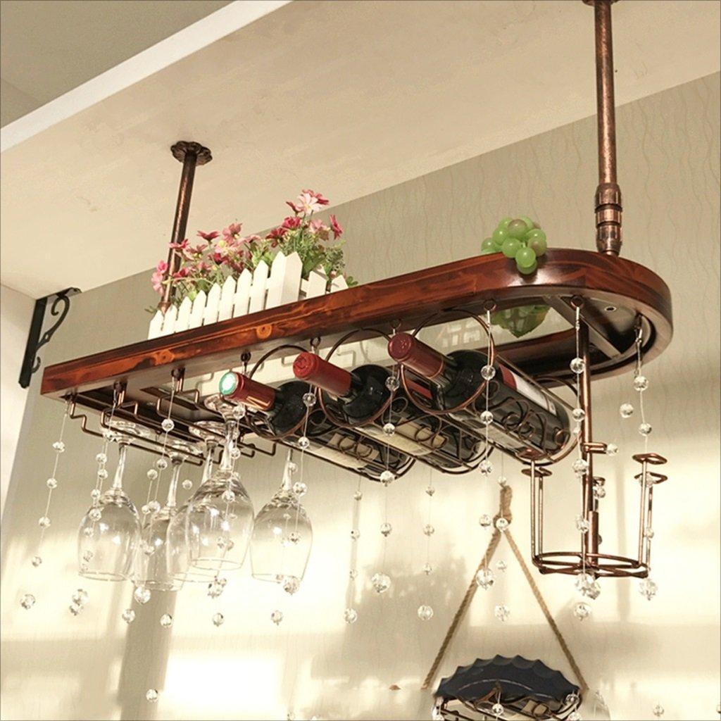 バーサスペンションバーカウンターワインラックレストラン家庭用ワイングラス倒立ラックレトロアイアンアート+ソリッドウッドワインラック (サイズ さいず : 80 * 28cm) B07HNQCCBF  80*28cm