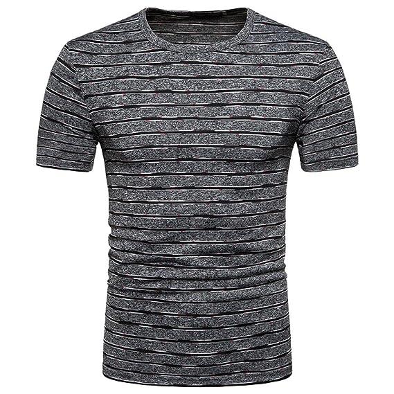 Camisetas con Rayas Estampado Hombre LHWY, Remera Ajustados Talla Grande Camisetas Cuello Redondo Manga Corto Verano: Amazon.es: Ropa y accesorios