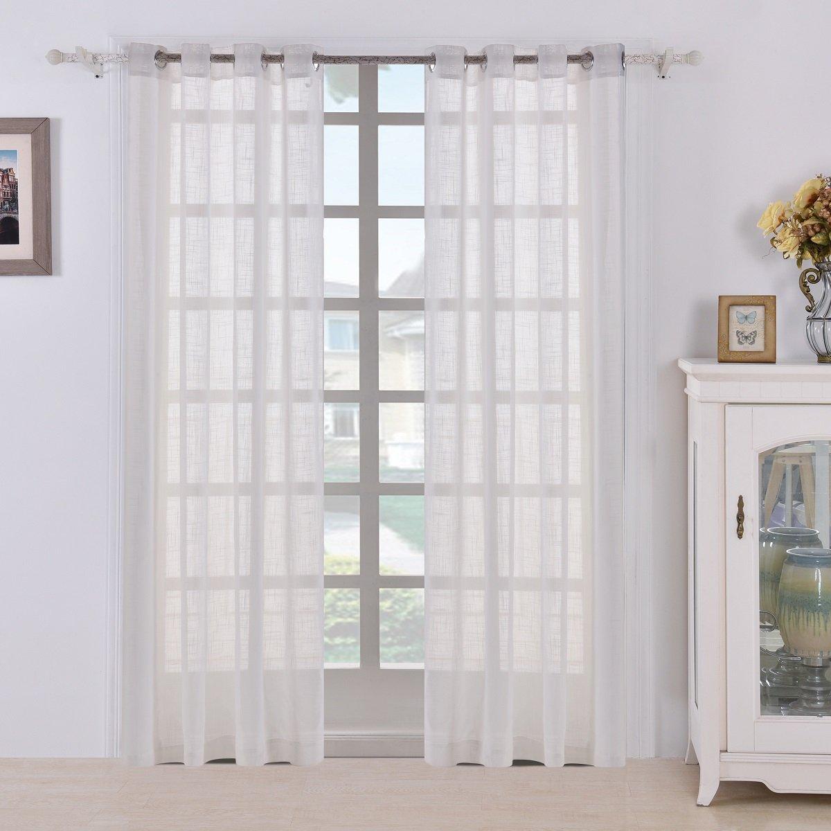 White Linen Curtain Panels: Amazon.com