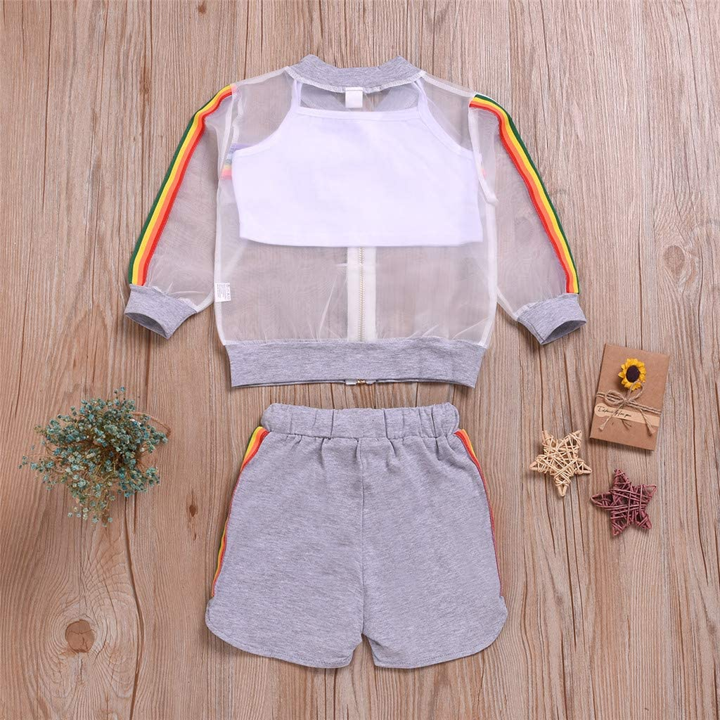 Solid Vest OutfitsSet 3Pcs White Solid Shorts Fabal Toddler Baby Girls Sun ProtectionTops
