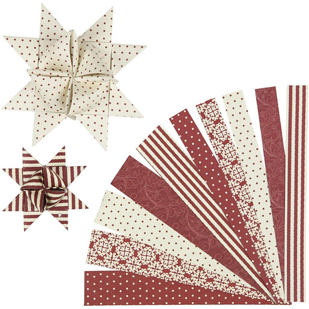 Vivi Gade - Strisce di carta per creare stelle decorative, motivi vari, 15 + 25 mm, confezione da 60 22248