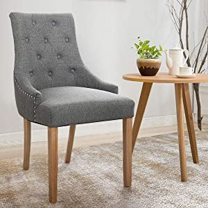 JAXPETY Set of 2 Elegant Fabric Accent Wood Dining Chairs, Upholstered Button Tufted Pattern, Soft Cushion with Nail Heads for Kitchen, Living Room and Restaurant (2-Pack,Gray)