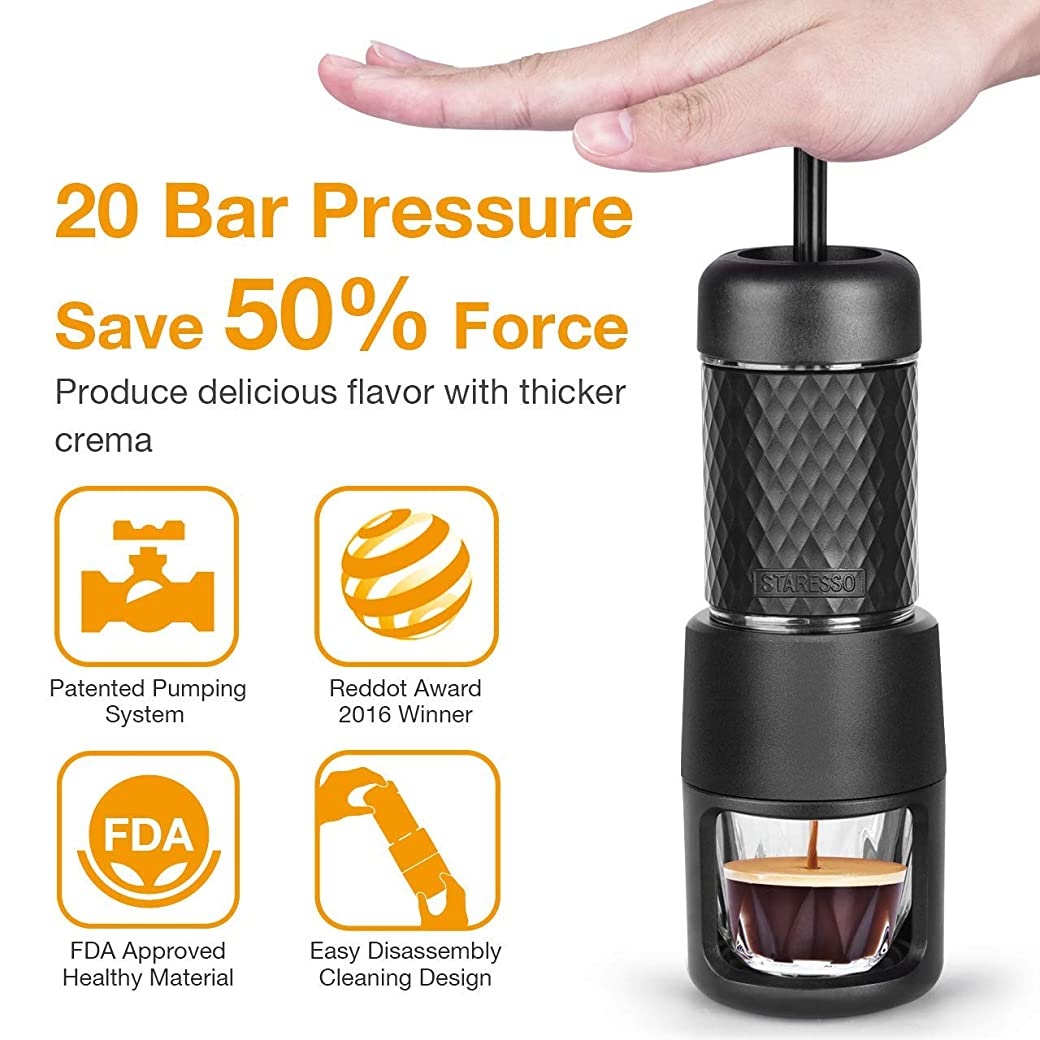 STARESSO Máquina de café espresso manual, portátil