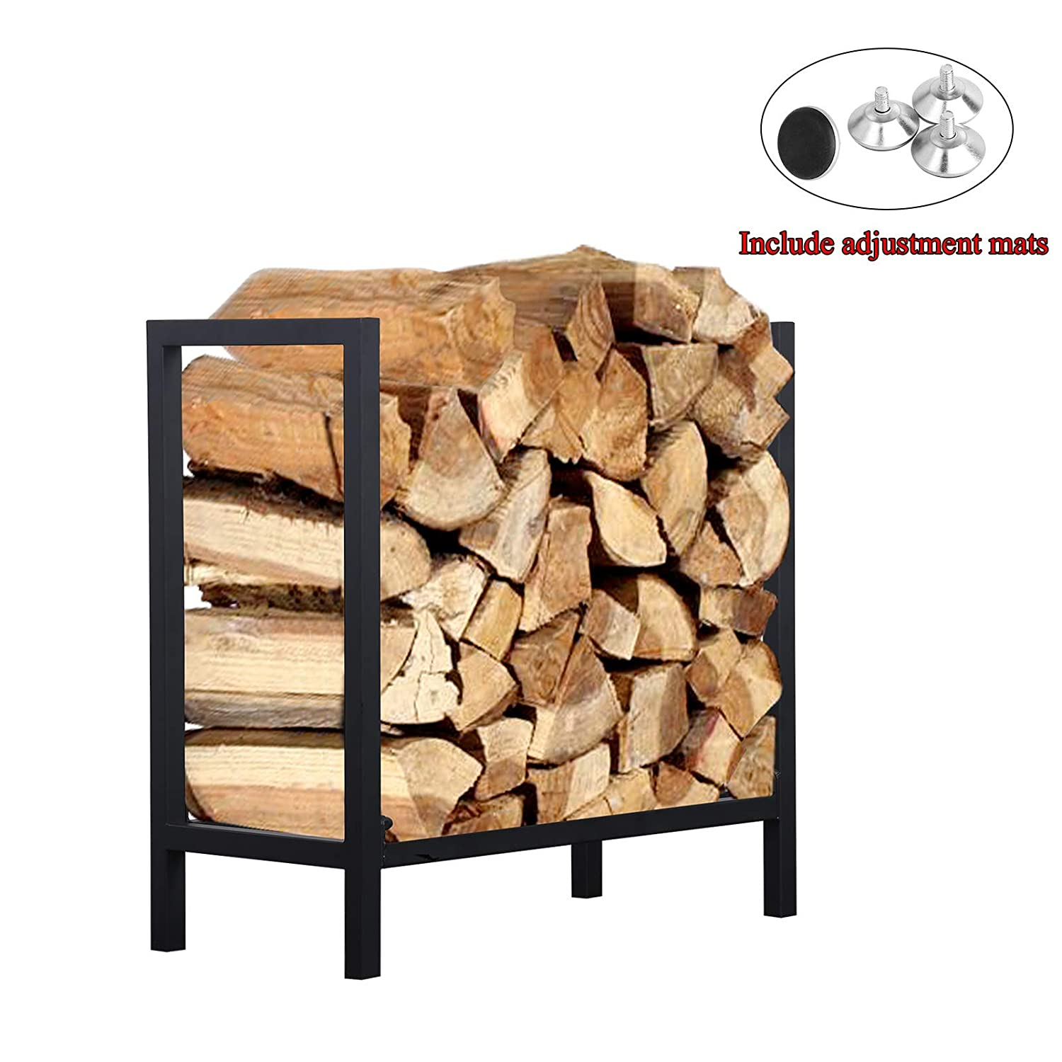 Ucared Firewood Rack Log Rack 24 Inch Indoor Outdoor Fire Wood Storage Black Steel Firewood Log Holder