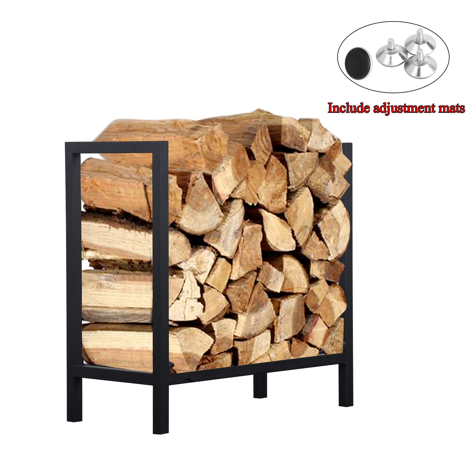 Ucared Firewood Rack Log Rack 24 Inch Indoor/Outdoor Fire Wood Storage Black Steel Firewood Log Holder by Ucared
