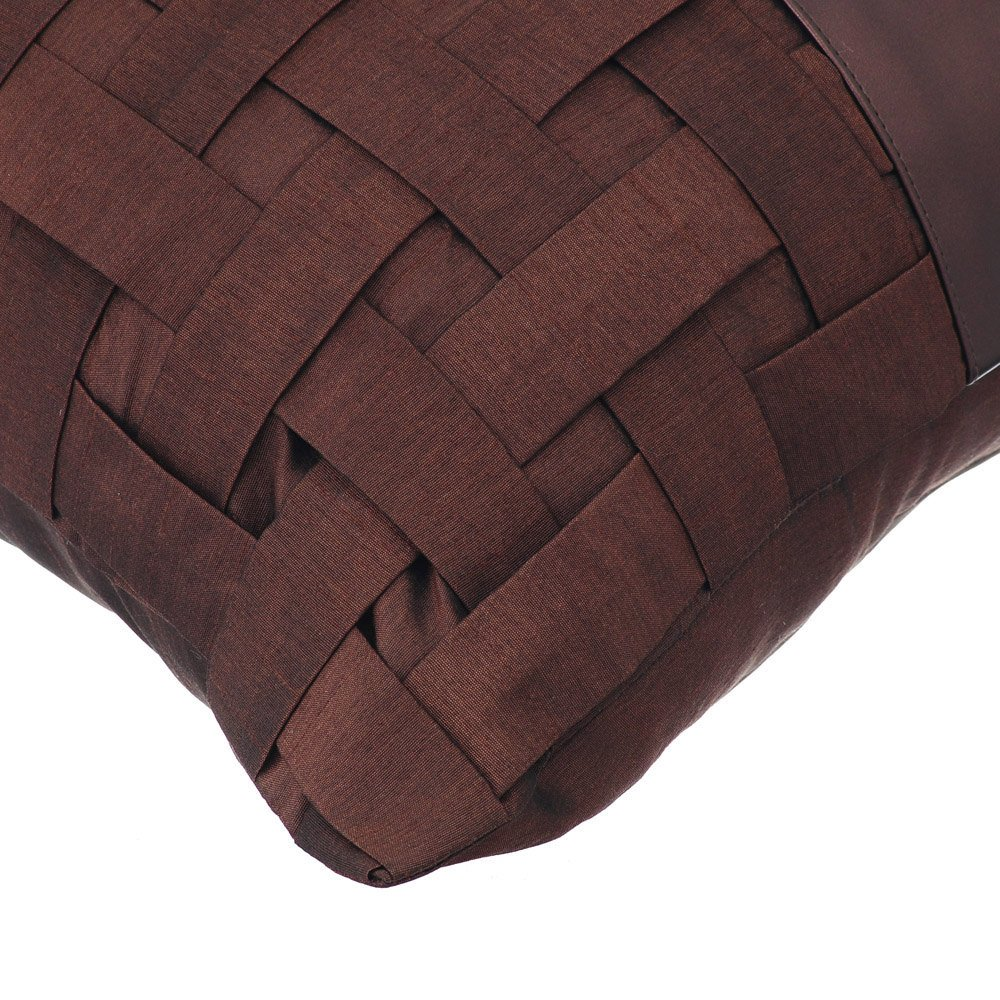 The HomeCentric Luxury Brown Pillow Shams, Basket Weave Faux Leather Pillow Shams, 24x24 Inch Pillow Sham, Square Silk Pillow Shams, Solid ...