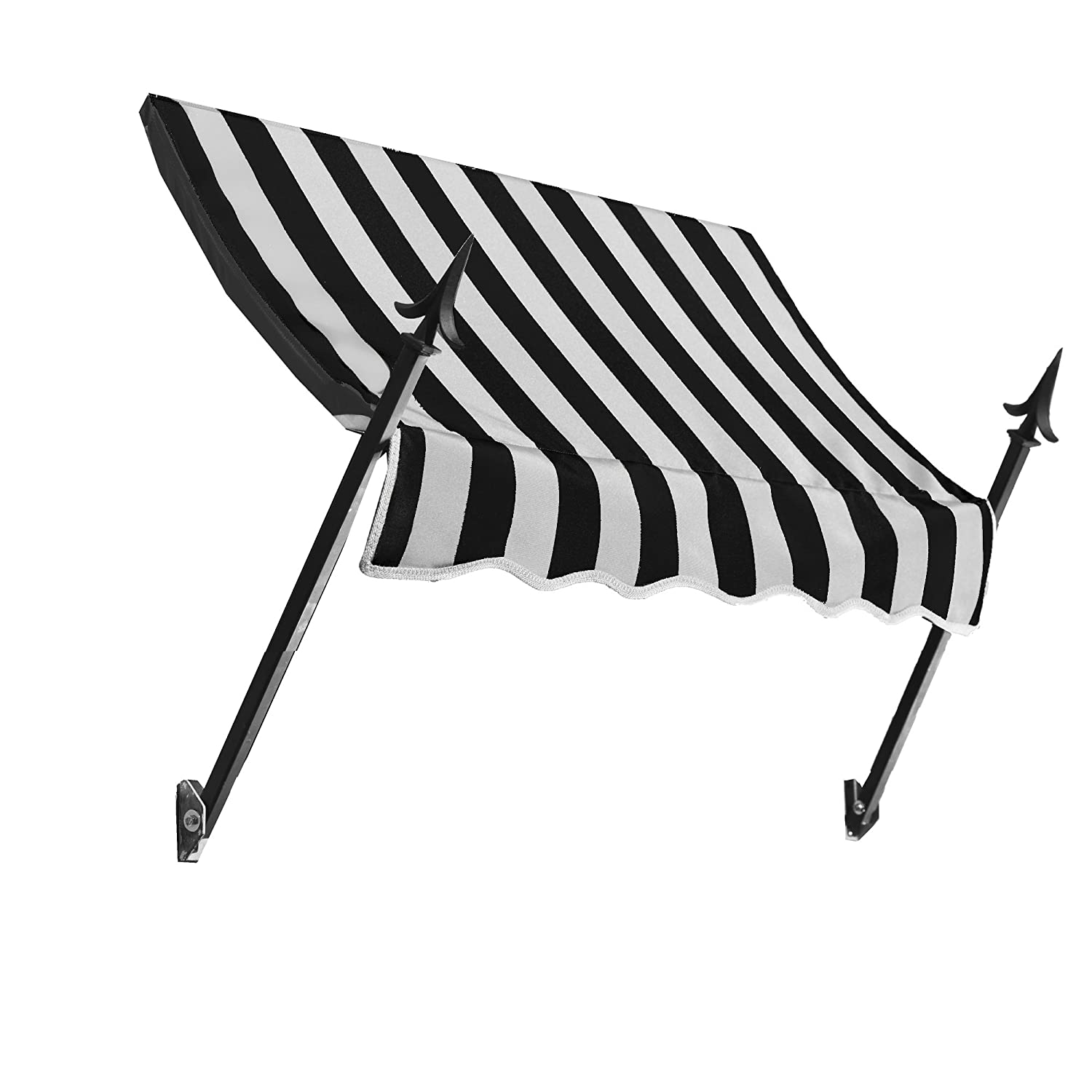Awntech 3-Feet New Orleans Awning, 31-Inch Height by 16-Inch Diameter, Black White