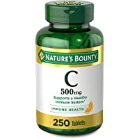 Vitamin C by Nature's Bounty for Immune Support. Vitamin C is a Leading Immune Support Vitamin, 500mg, 250 Tablets