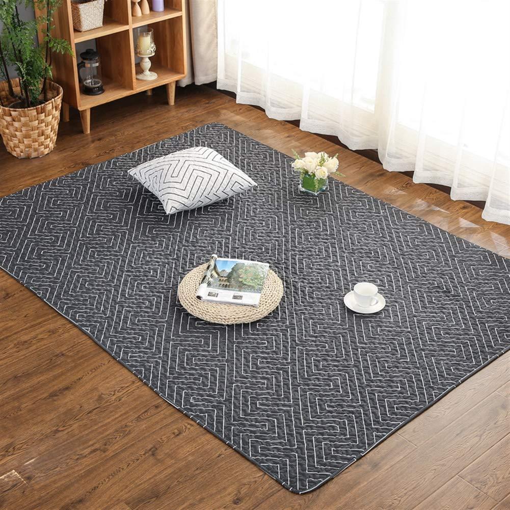 Liveinu Baumwolle Teppich mit Anti-Rutsch Unterstützung Faltbarer Abwaschbarer Japanische Japanische Japanische Tatami Kriechende Matte Spieldecke Fußboden Krabbeldecke 210x220cm Geometrisches Schwarz B07JVL5KWS Teppiche 5bb785