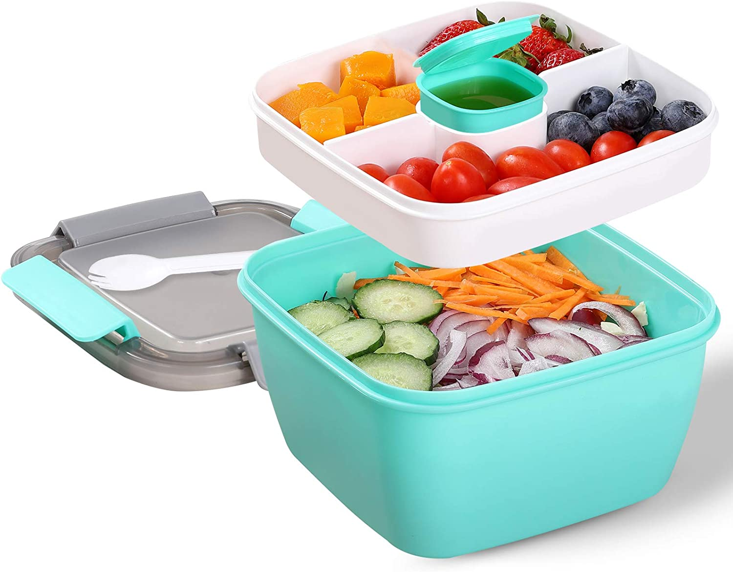 Portable Salad Lunch Container - 38 Oz Salad Bowl - 2 Compartments with Dressing Cup, Large Bento Boxes, Meal Prep to go Containers for Food Fruit Snack