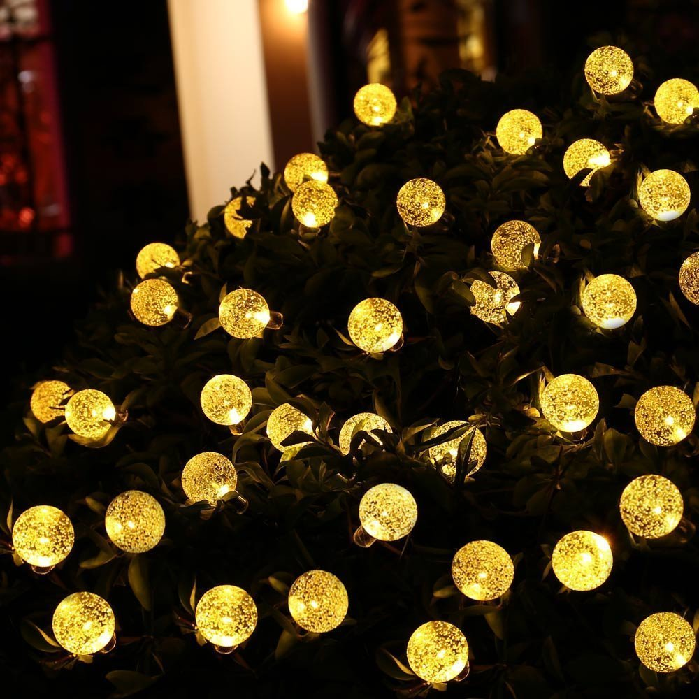 outdoor globe lights solar amazoncom icicle outdoor solar string lights waterproof 30 led crystal bubble globe lights for outdoorindoor decorations warm white2 pack