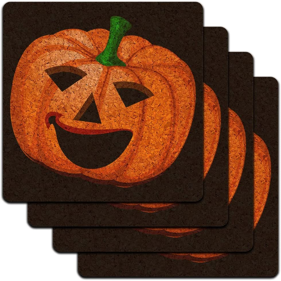 Amazon Com Jack O Lantern Pumpkin Halloween Low Profile Cork Coaster Set Coasters
