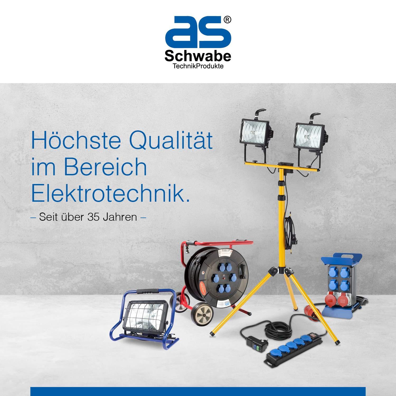 6 x Halogenstrahler 1000 Watt as-Schwabe Bau Strahler 1000W 2m Kabel IP54 Fluter