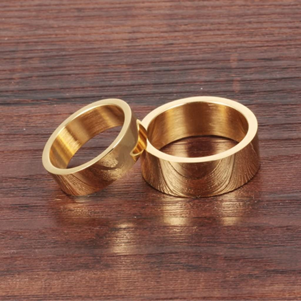 Bishilin Stainless Steel 8MM | 6MM Women Men Plain Gold Plated Ring Wedding for Couple Size 10
