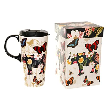 6c389ed082f Amazon.com: 17 oz Ceramic Coffee Travel Mug with Lid,Flower and Butterfly:  Kitchen & Dining