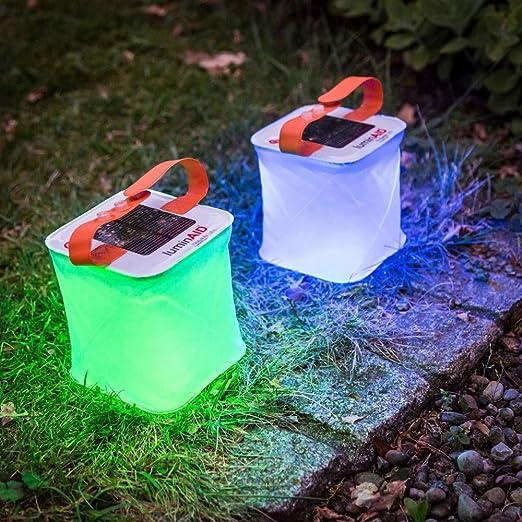 Lámpara LED RGB solar hinchable de jardín, impermeable, para ...