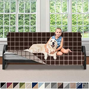 SOFA SHIELD Original Patent Pending Reversible Futon Slipcover, 2 Inch Strap Hook, Seat Width Up to 70 Inch Washable Furniture Protector, Futons Slip Cover Throw for Pets, Futon, Plaid Chocolate Beige