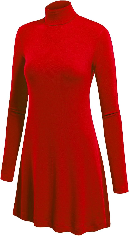 Lock and Love Women's Long Sleeve Turtleneck Asymmetric Tuni Top - Made in USA