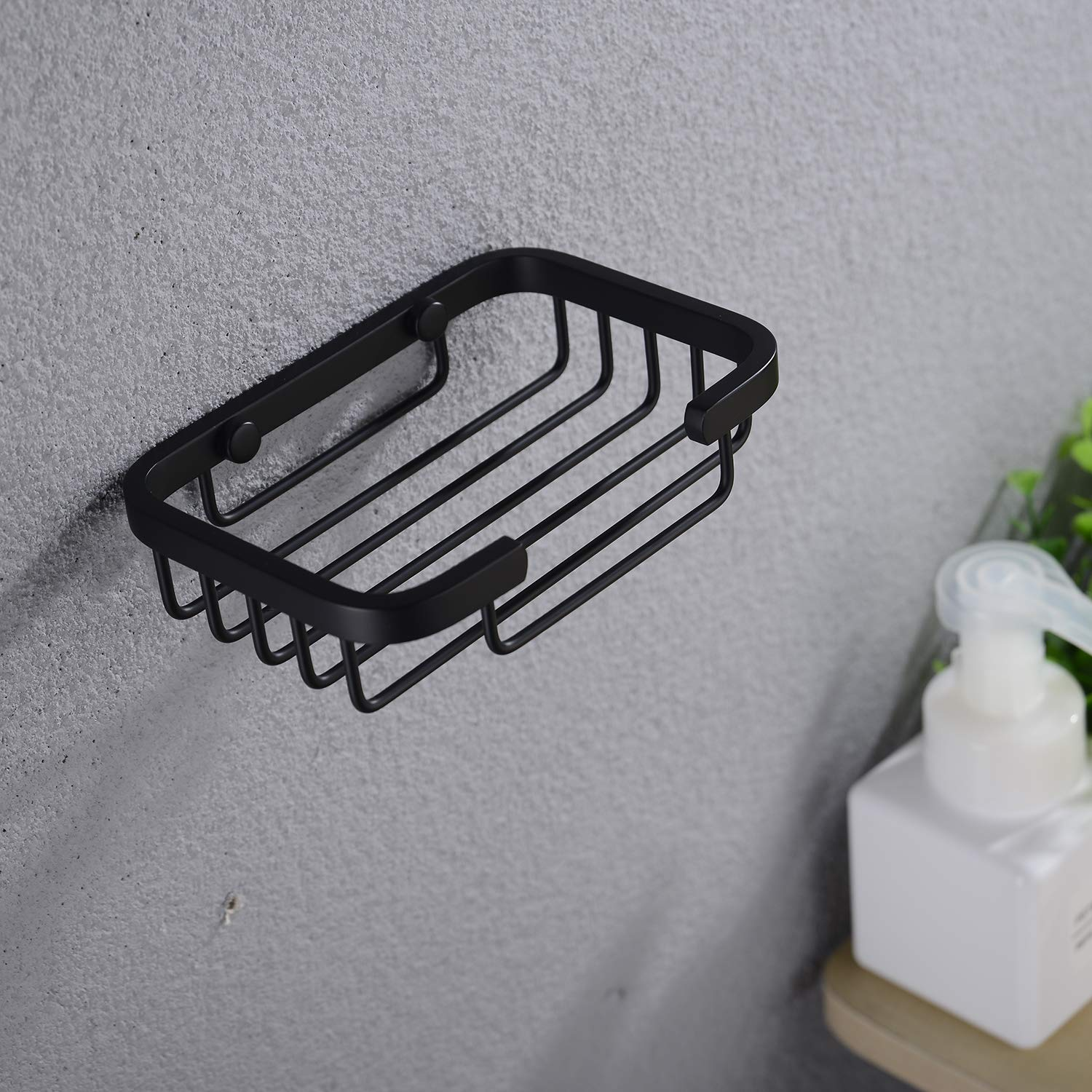 SUS304 Stainless Steel Soap Holder Sponge Shelf Basket Shower Caddy Storage for Bathroom Kitchen Rustproof Matt Black Nicmondo Wall Mounted Soap Dish