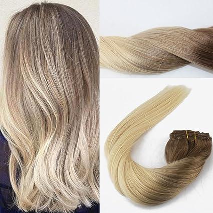 Extensiones de pelo humano, con horquilla, 35,5–70 cm, enganche de horquilla, mechas ombré, color castaño medio a rubio ceniza, #4 to #18, liso sedoso