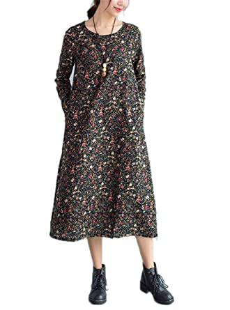 Paule Trevelyan NEW Spring Autumn Long Sleeve Women Dress large Size Vintage Floral Casual Loose Cotton