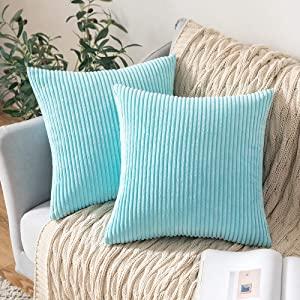 MIULEE Decorative Throw Pillow Covers Pack of 2 Corduroy Soft Soild Pillow Cases Square Outdoor Pillowcases for Cushion Couch Sofa Bedroom Living Room 20 x 20 Inch, Light Blue