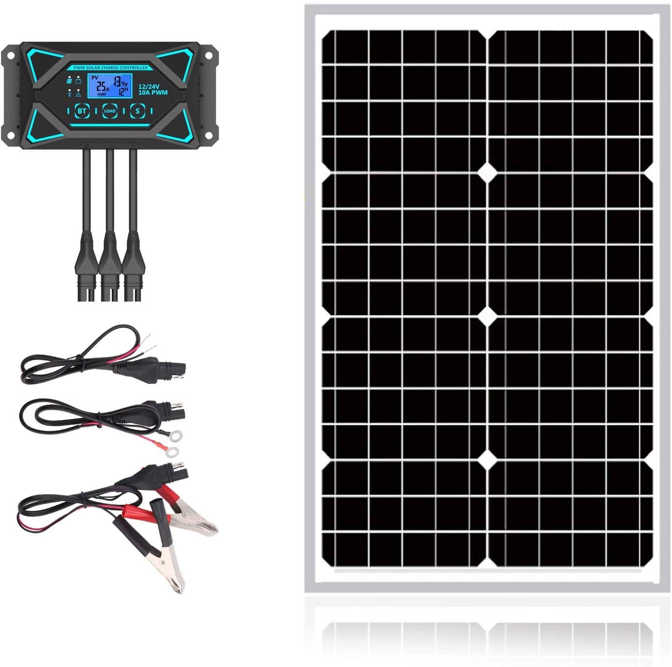 Sun Energise 30W 12V Solar Panel Kits- 30 Watt Mono Crystalline Solar Panel + Intelligent 10A Charge Controller with Dusk to Dawn Control + Cable Adapters for Off Grid Boat, Marine, Trailer, Cabin
