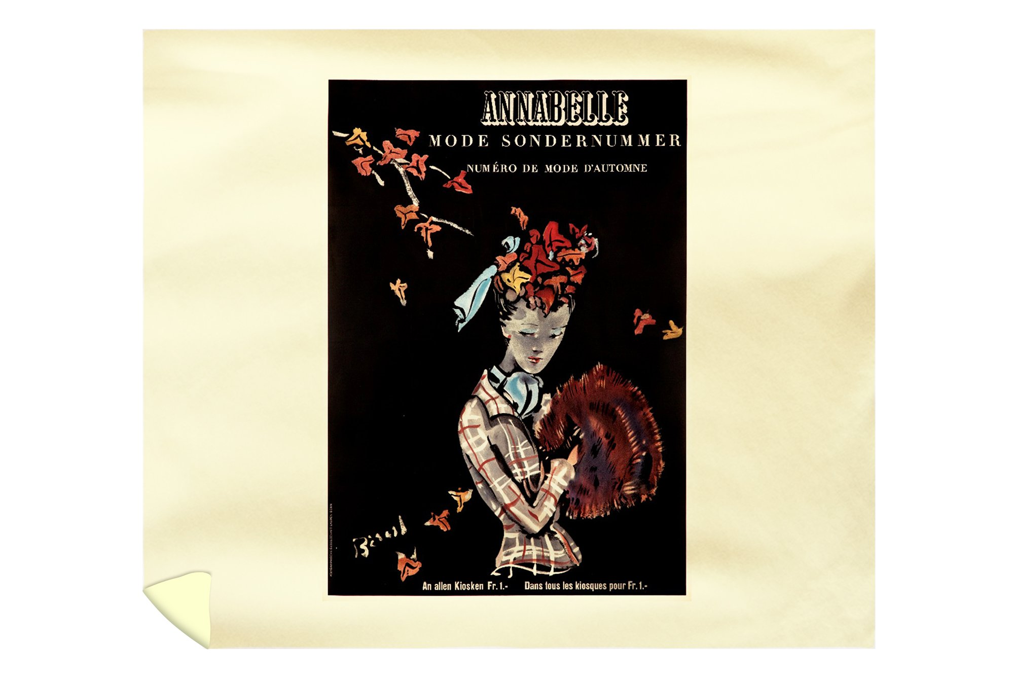 Annabelle Vintage Poster (artist: Christian Berand) Switzerland c. 1942 (88x104 King Microfiber Duvet Cover) by Lantern Press
