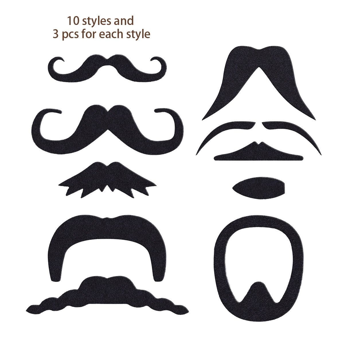 LUOEM Self Adhesive Fake Mustaches Novelty Party Favors Supplies for Funny Cosplay Party Halloween Christmas|Perfect for Masquerade Party Performance 30 pack