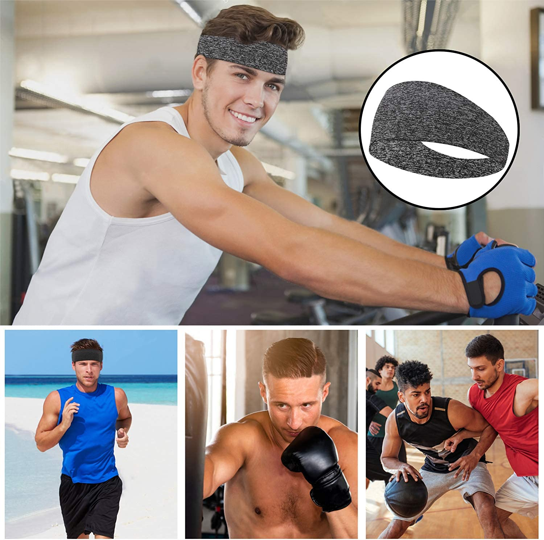 Basketball MoKo Mens Headband 3 Pack Yoga Stretchy Moisture Wicking Hairband Mens Running Headband Workout Sweatband Sports Headband for Men for Running,Cycling