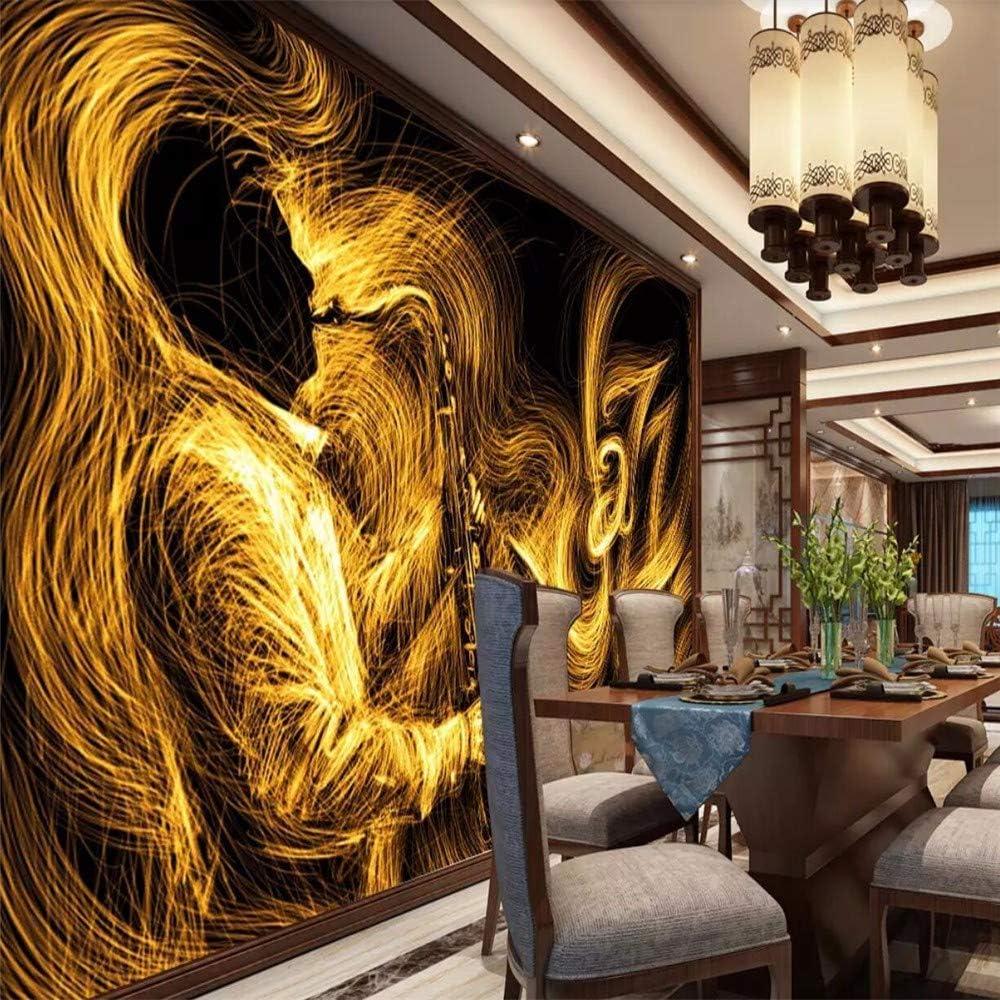 Amazon 壁画 抽象画 ゴールデン サックスジャズ 音楽 壁画 カスタム 3d 壁紙 ラージ 壁画 ホームデコレーション Miwei715 壁紙