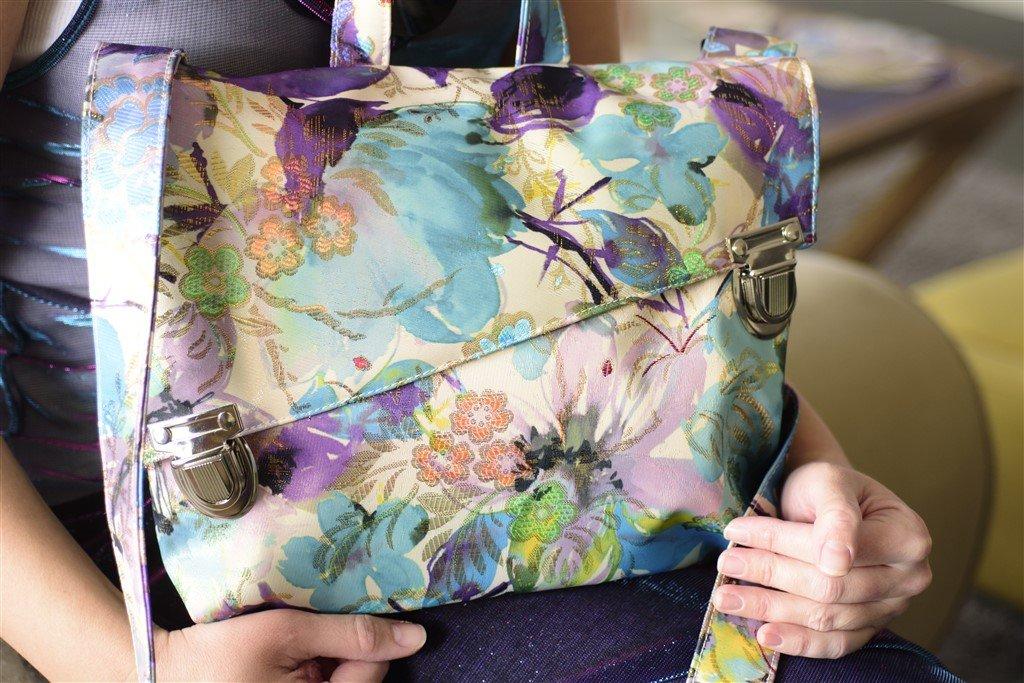 Floral Vegan Messenger Bag - Shoulder Purse, crossbody bag or Backpack, Handmade Designer