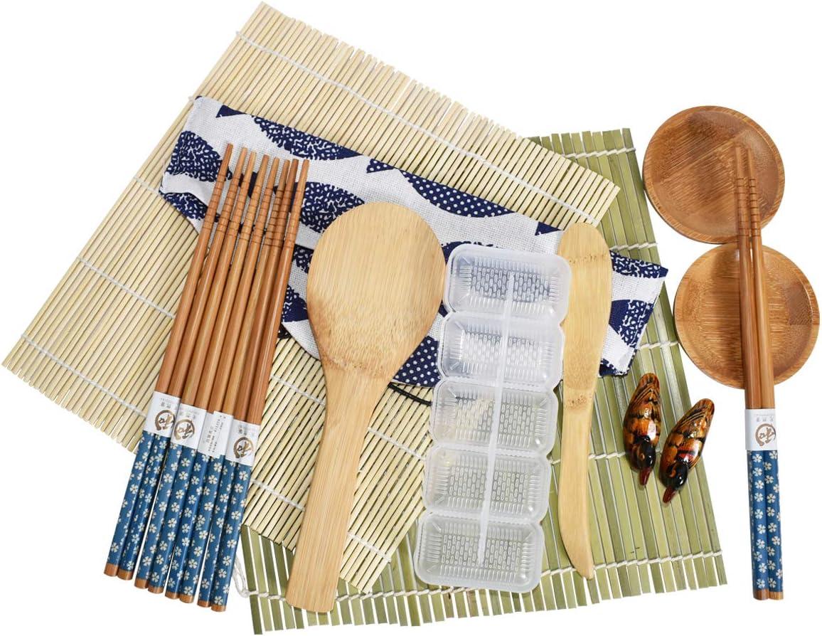 15 PACK Sushi Making Kit, Sushi Maker Roller Tool for Beginners Including Sushi Rolling Mats Chopsticks Paddle Spreader Sauce Dish Sushi MoldCotton Bag for Home DIY Food Lover Sushi Making Beginner