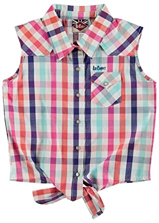 e26305da Junior Girls Sleeveless Tie Checked Shirts Top (7-8 Yrs, Lt Pink Check):  Amazon.co.uk: Clothing