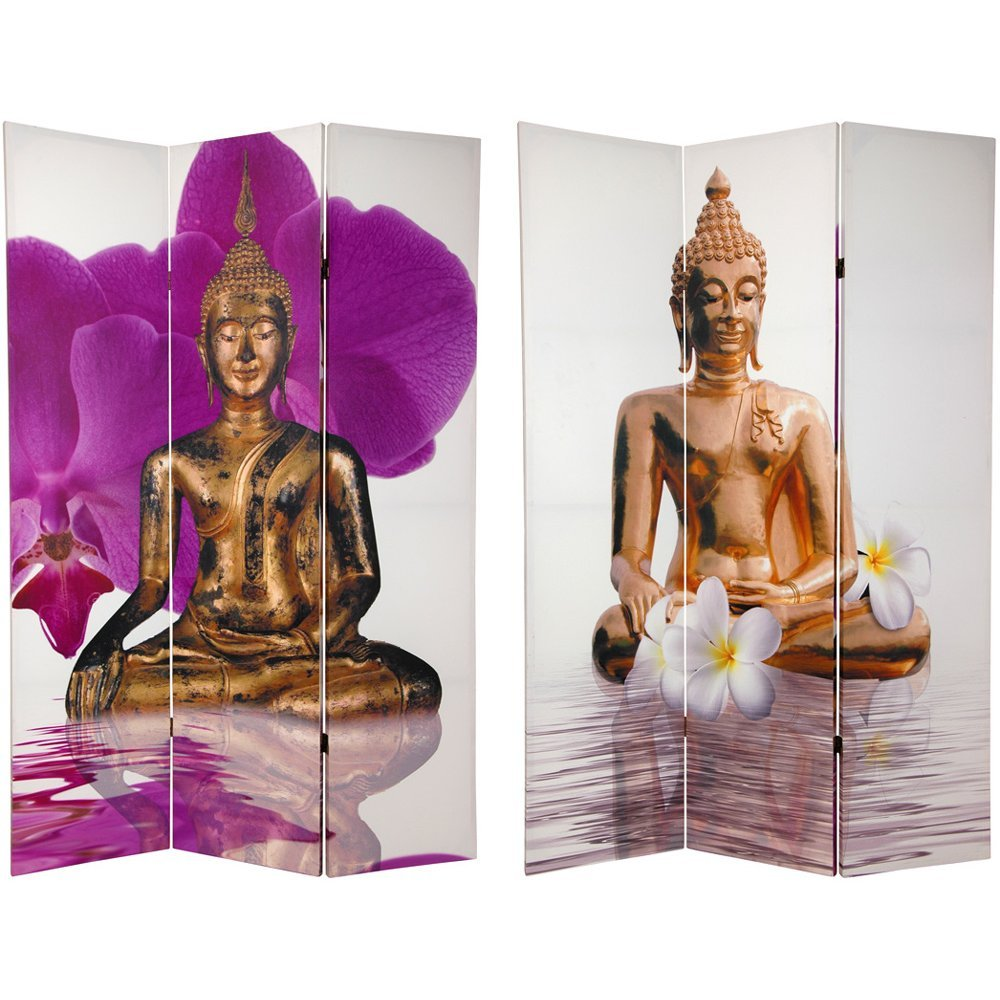 Oriental Furniture 6 ft. Tall Double Sided Thai Buddha Room Divider by ORIENTAL FURNITURE