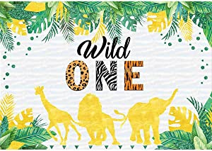 Allenjoy 7x5ft Wild One Backdrop Jungle Safari Animals Forest Tropical Palm Leaves Photography Background Kids Boy 1st First Birthady Baby Shower Party Decoration Supplies Photo Booth Props