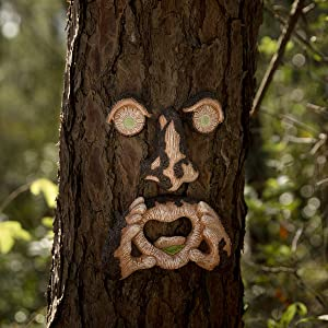GOSHOWIN Tree Face Outdoor Decor Eyes and Tongue Glow in The Dark Tree Hugger Figurines Yard Art Garden Decoration