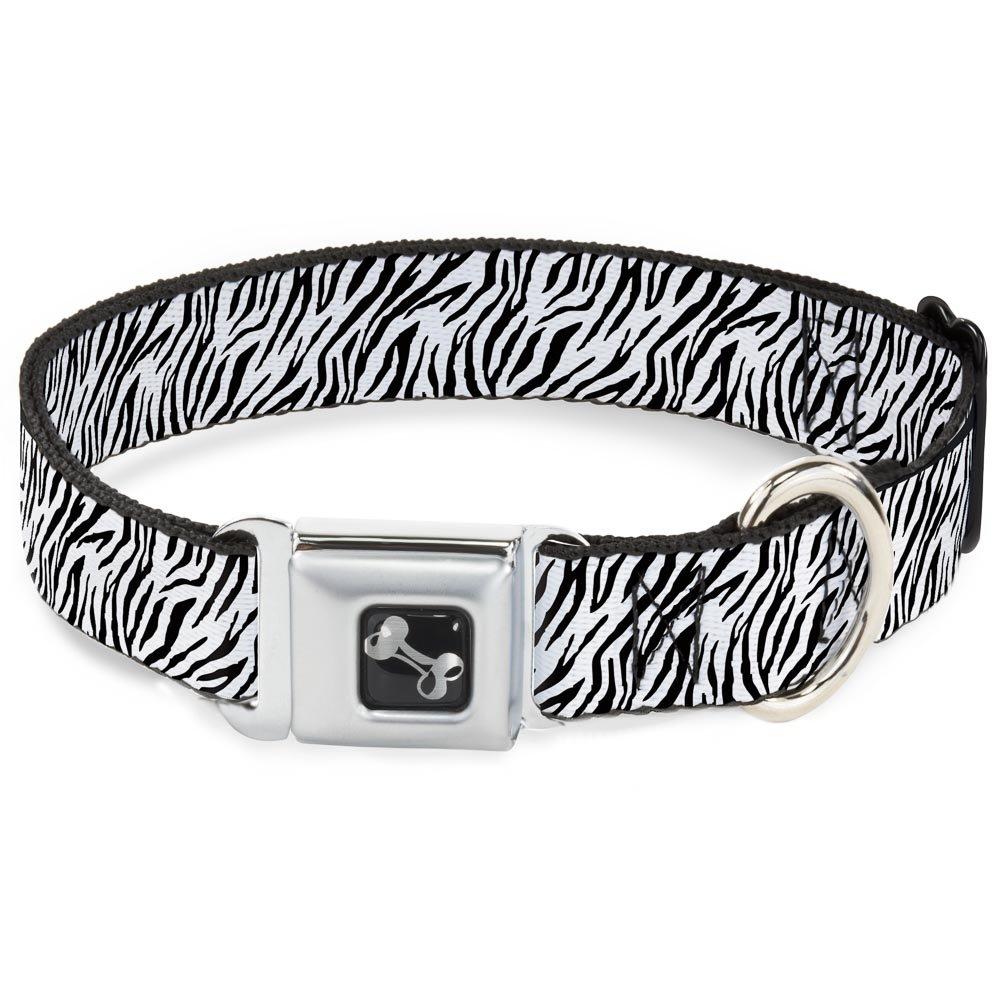 Buckle-Down Seatbelt Buckle Dog Collar Zebra 2 White 1.5  Wide Fits 16-23  Neck Medium