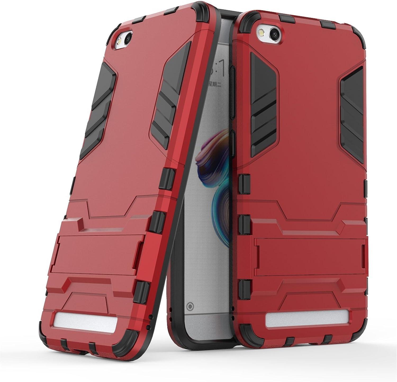 LXHGrowH Funda 360° Full Body Anti-Shock Híbrida Protección para Xiaomi Redmi 5A, Rojo
