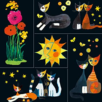 Imanes decorativos - gatos de colores con motivos de flores y sol negro - para nevera