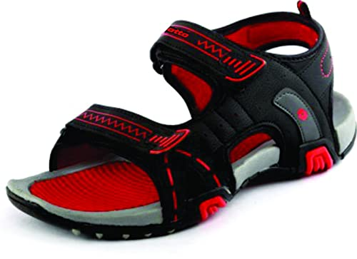 f2a4a7bddaf2 Lotto Men S Spy Grey Red Sandal Gt7062 Uk In 10  Buy Online at Low Prices  in India - Amazon.in