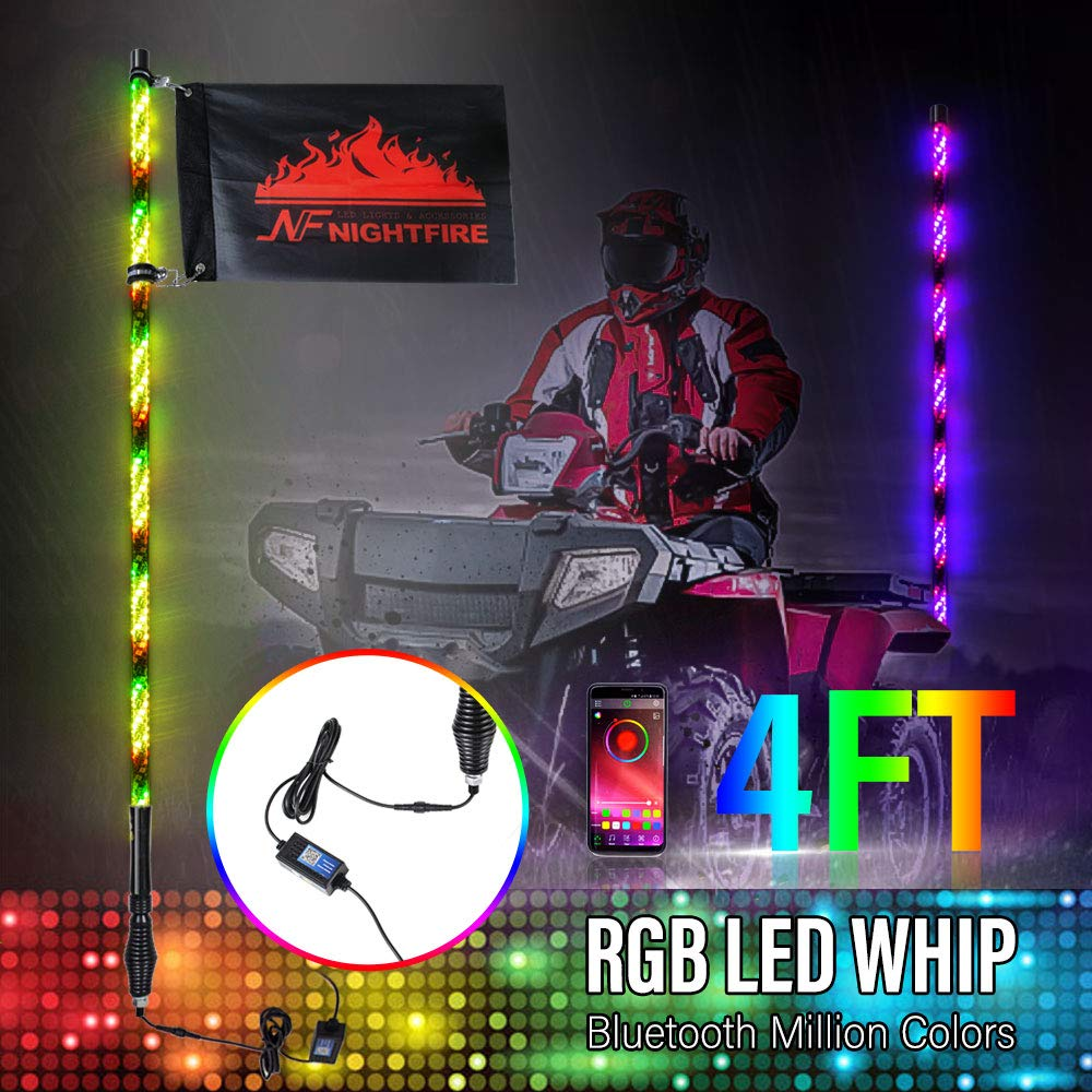 3FT LED Whip Light Spiral Remote Control Dancing Chasing Flag Pole with Wireless for ATV UTV Truck Polaris RZR XP 1000 Can am Maverick X3 1 PC