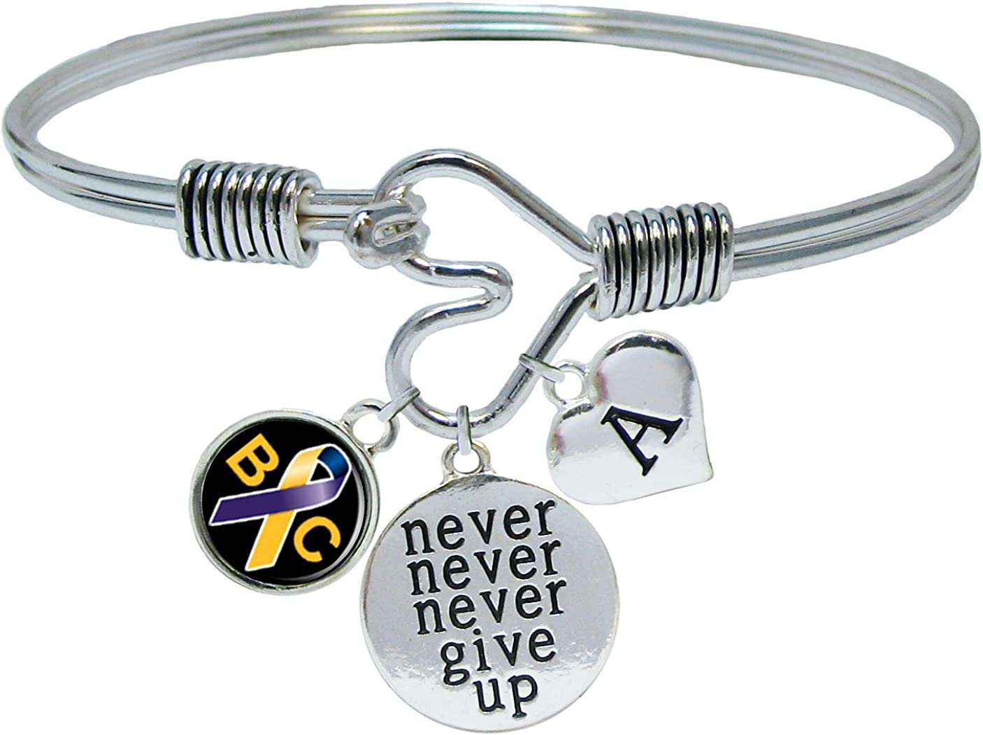 Sports Accessory Store Custom Bladder Cancer Awareness Never Give Up Bracelet Choose Initial
