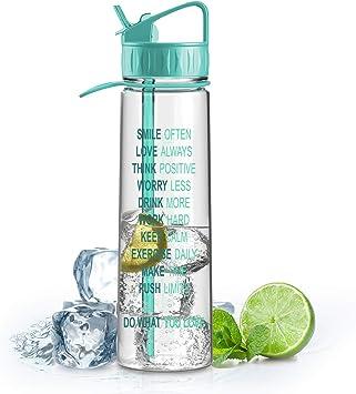 Artoid Mode 900ml Bottiglia di Acqua Plastica Tritan Bottiglia Senza BPA con la Motivazione del Tempo di marcatura Sport con Impugnatura Fatta di BPA-Free tritan con Una Sola Mano Aperta